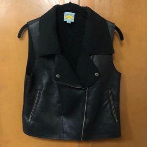 C & C California Black Faux Shearling Vest